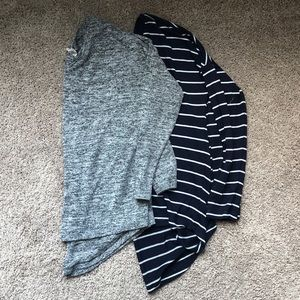 Sweaters - Grey and Navy Striped Lightweight Pocket Sweaters